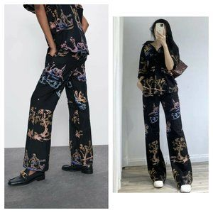 ZARA ORIENTAL EMBROIDERED CASUAL PANTS
